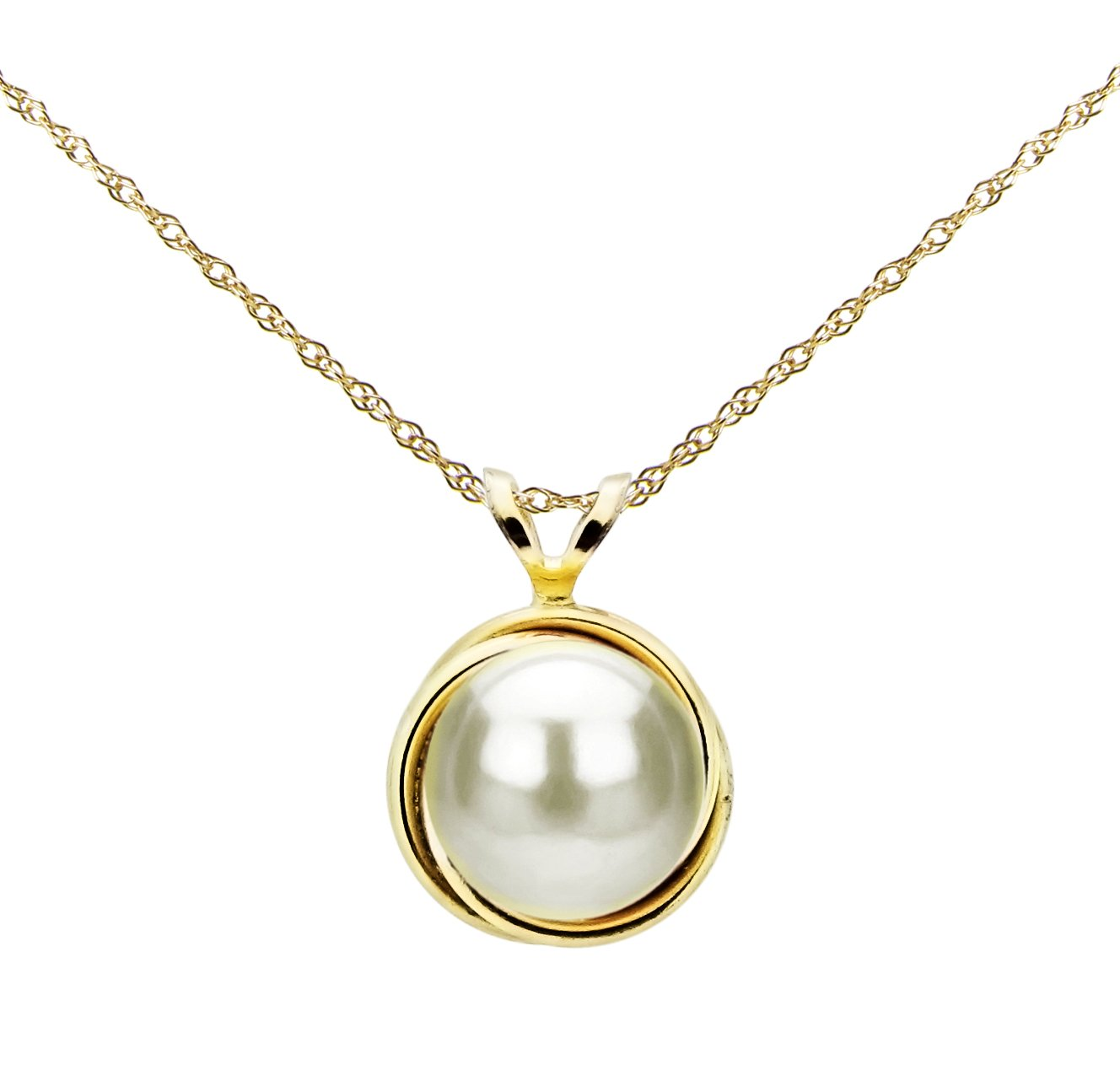 14k Yellow Gold 8-8.5mm White Button-shape Freshwater Cultured Pearl Love-knot Bazel Design Pendant, 18''