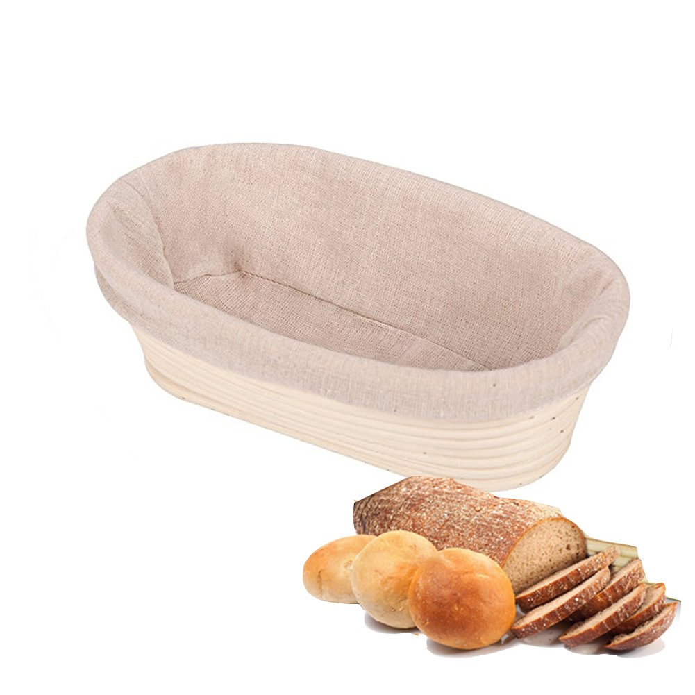 Round Oval Rattan Bread Proofing Basket Banneton Brotform Dough Bread Making Rising Set with Cloth Liner for Bakers Handmade Lovers