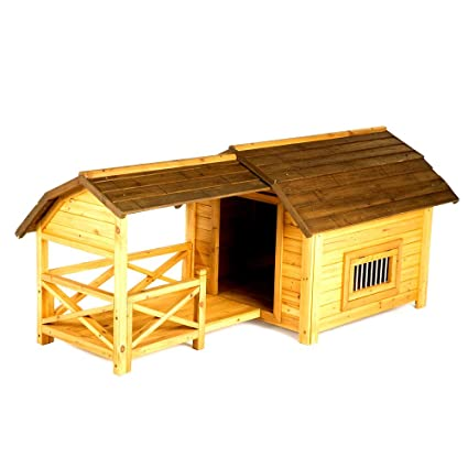Amazoncom Pet Barn Dog House Wooden Cold Protection Or Damp