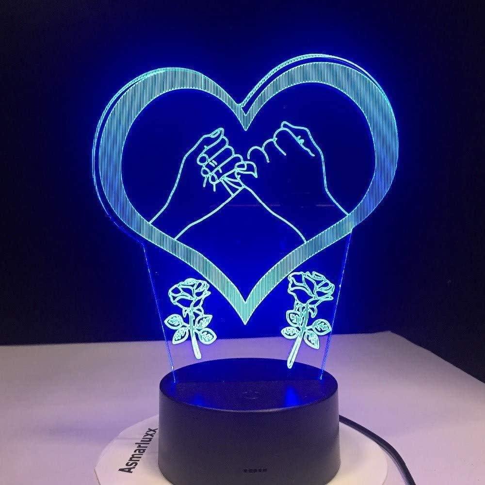 Luce Notturna 3D Mano Pinky Giura Promessa Amore Cuore Lampada A Led Lampada A 7 Colori Cambiata S Lampada Da Tavolo Per Bambini Regalo DAmore Presente
