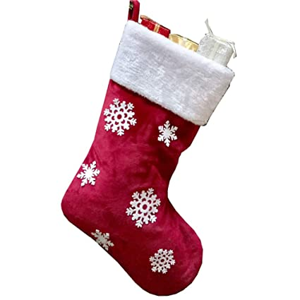 HelaJoy Large Red Christmas Stocking , Snowflake Christmas Stockings  Flannelette Christmas Stockings Christmas Decorations Christmas Tree Party