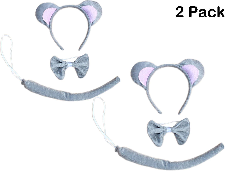 Kids Animals Dress Up Costume Dalmatian Mouse Wolf Tiger Headband Cat Ears Tail Halloween