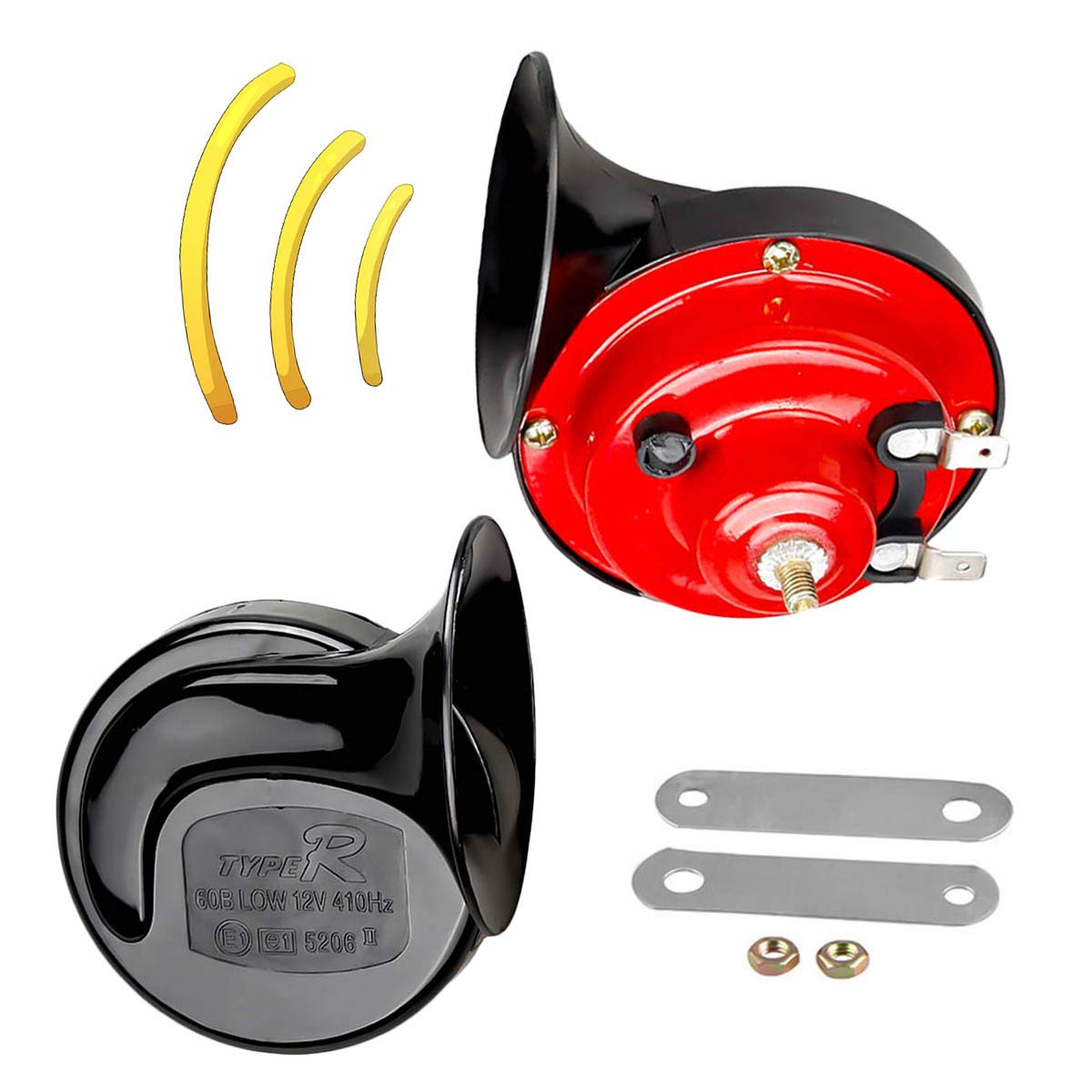 Garberiel 2 Pair Auto Car Vehicle Horn with Bracket Universal 12V 135db Loud Dual Waterproof Horn for All Motorcycle