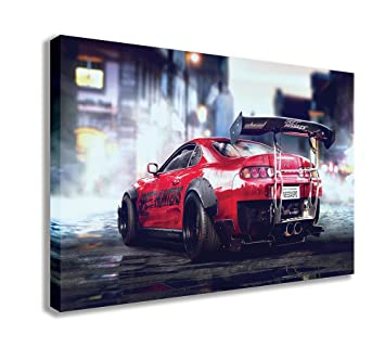 "TOYOTA SUPRA SPORTS CAR STREET MODIFICATION CANVAS WALL ART (30"" X 18"" /"