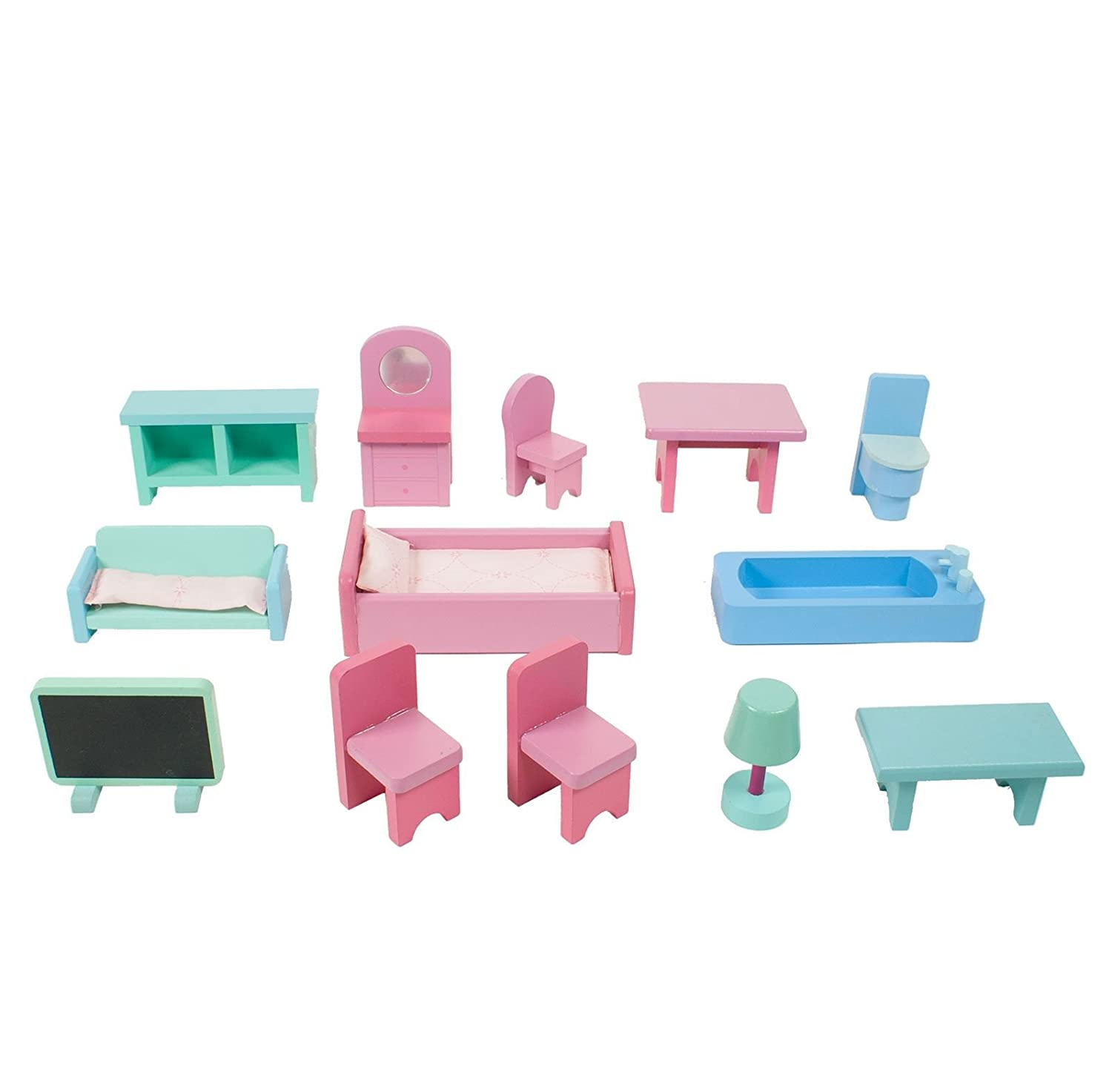 Amazon.com: Boppi Wooden Dolls House With 15 Furniture Play Accessories:  Toys U0026 Games