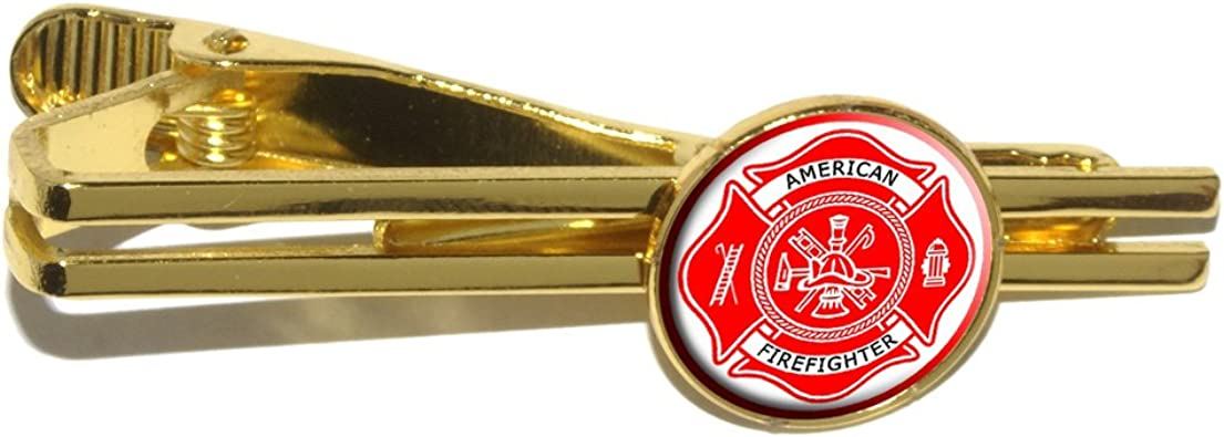 GRAPHICS /& MORE Firefighter Fire Rescue Maltese Cross Round Tie Bar Clip Clasp Tack Gold Color Plated