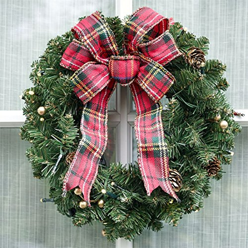 BrylaneHome Small Pre-Lit Double-Sided Wreath (Green,0) by BrylaneHome