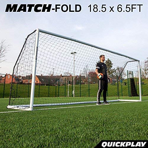 QuickPlay PRO Match-Fold Portable Soccer Goal 18.5x6.5' with Carry Bag [Single Goal] Quick Setup Folding Soccer Goal for Clubs, Coaches & The Best Home Soccer Goal on The Market