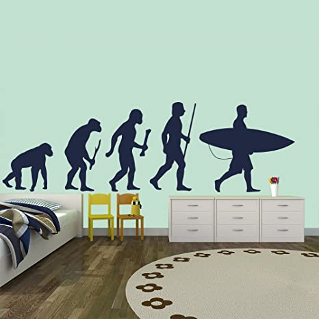 azutura Surfing Evolution Wall Sticker Surfboard Wall Decal Kids Bedroom Surf Home Decor available in 5
