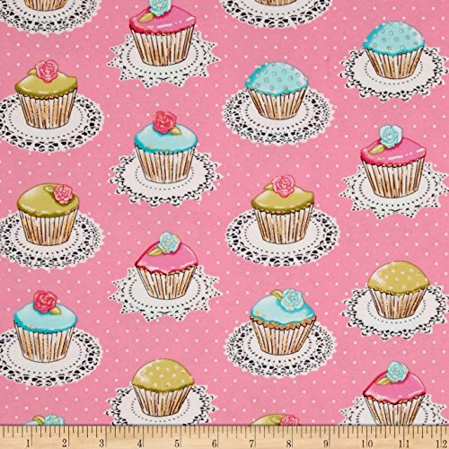 Cupcake Fabric (Michael Miller Flannel Quaint Cupcakes Glitter Metallic Pink Fabric By The Yard)