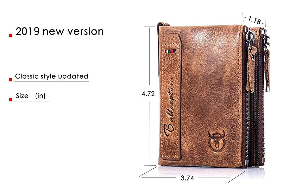 BULLCAPTAIN Wallets for Men with Double Zip Coin Purse Bifold Vintage Genuine Leather Front Pocket Wallet QB-6