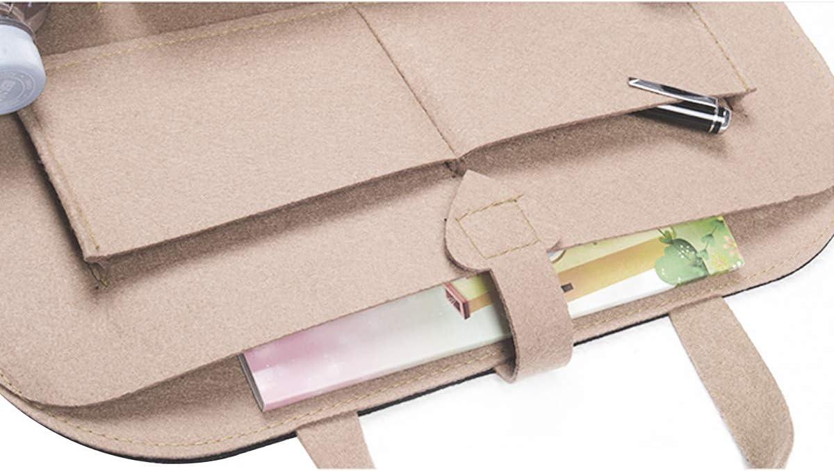 Zuzer 2pcs Car Backseat Organiser Backrest Protector Car Seat Back Bag Back Seat Car Organizer with Clips Closure and Various Storage,Black//White