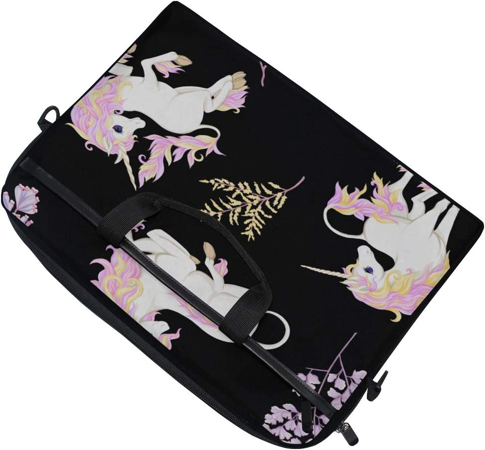 College Students Business People Offic Briefcase Messenger Shoulder Bag for Men Women Laptop Bag Unicorn Fantsatic Flowers 15-15.4 Inch Laptop Case