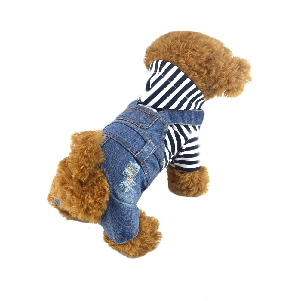 DOGGYZSTYLE Pet Dog Cat Clothes Blue Striped Jeans Jumpsuits One-piece Jacket Costumes Apparel Hooded Hoodie Coats for Small Puppy Medium Dogs (M, Blue)