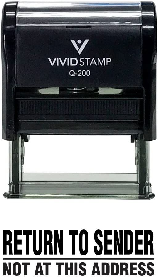 Large Return to Sender Not at This Address Self Inking Rubber Stamp Red Ink