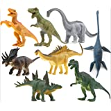 8 pcs Dinosaur Set, OMGOD Dinosaur Toys Velociraptor Tyrannosaurus Velociraptor/Fast robber Saichania Stegosaurus Triceratops Branchiosaurus, Kids Toy Realistic Jurassic Action Perfect Gift For Boy