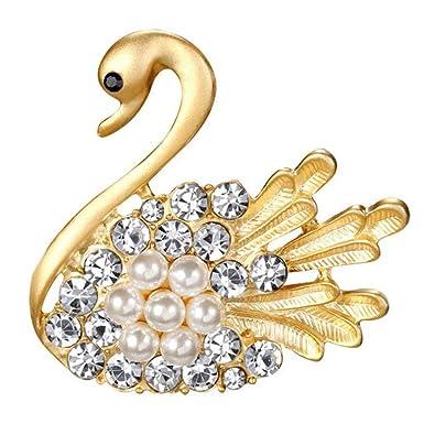 176dfa94582 iEay Women Brooches Fashion Golden Swan Design Party Wedding Decor ...