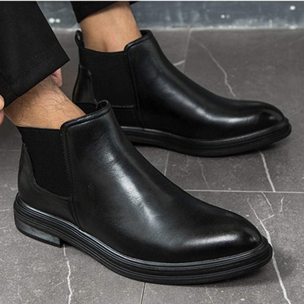 Chelsea Boots Men Leather Plus Velvet zum Warmhalten von Spitzstiefeln Autumn Winter Fashion Shoes Black YKyim