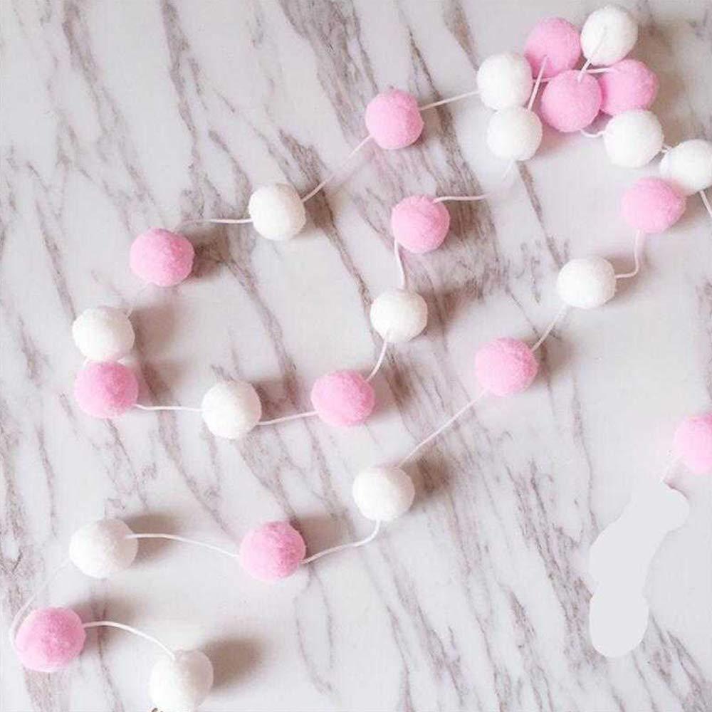 Limeow Bunte Mini Pompons Wanddeko Pompon Dekoration Mini Pompons Dekoration Bunte Pompons f/ür DIY Kreative Handwerk Dekoration Handgefertigt 2 m White Pink Lila mit 30 x Filzkugeln 2 St/ück