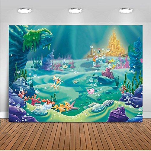 Mehofoto Under Sea Mermaid Backdrop Castle Blue Sea Grass Shell Photography Background 7x5ft Vinyl Child Kids Baby Birthday Party Decoration Backdrops