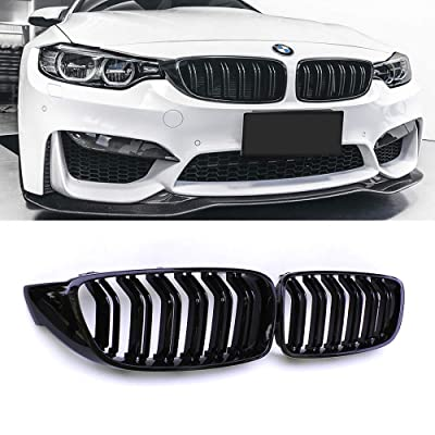 SNA Front Kidney Grill Compatible for BMW 4 Series F32 F33 F36 (2014+) F82 F83 M4 F80 M3 (2015+) (Gloss Black Double Slats ABS Grille, 2-pc Set): Automotive