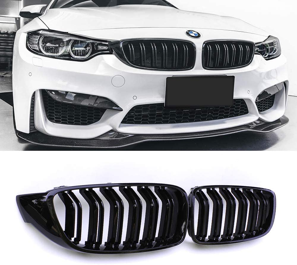 JMY Front Kidney Grille Grill Gloss Black Dual Double Line for BMW 4 Series F32 F33 F36 F80 F82 ABS