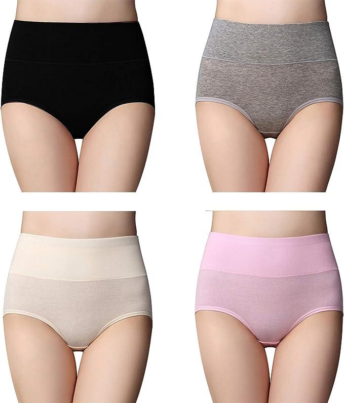 WhiFan Braguitas Culotte Algodón para Mujer Bragas de Cintura Alta Pantalones (Pack de 4): Amazon.es: Ropa y accesorios