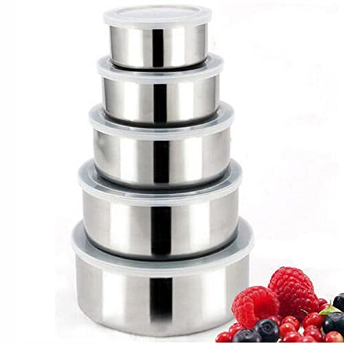 Gosear®5 pcs Stainless Steel Food Storage Containers Box Mixing Bowls w/ Airtight lids Preserving Box