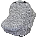 Image of Stretchy Multi Use Carseat Canopy | Nursing Cover | Shopping Cart Cover | Infinity Scarf- Herringbone Print | Best Baby Gift for Girls & Boys| Fits Most Infant Car Seats | Great For Breastfeeding Moms