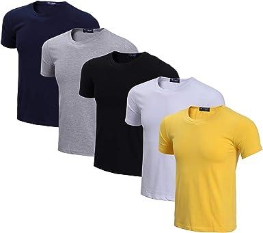 LEOCLOTHO Camiseta para Hombre Manga Corta Verano Algodón Cuello ...
