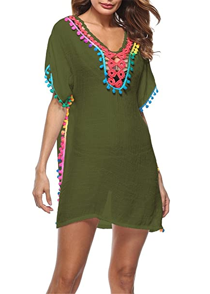 dba40ebb0e4fe Unidear Womens Colorful Pom Pom Trim Kaftan Swimsuit Tunic Cover Up Crochet Beach  Dress Green One Size at Amazon Women s Clothing store
