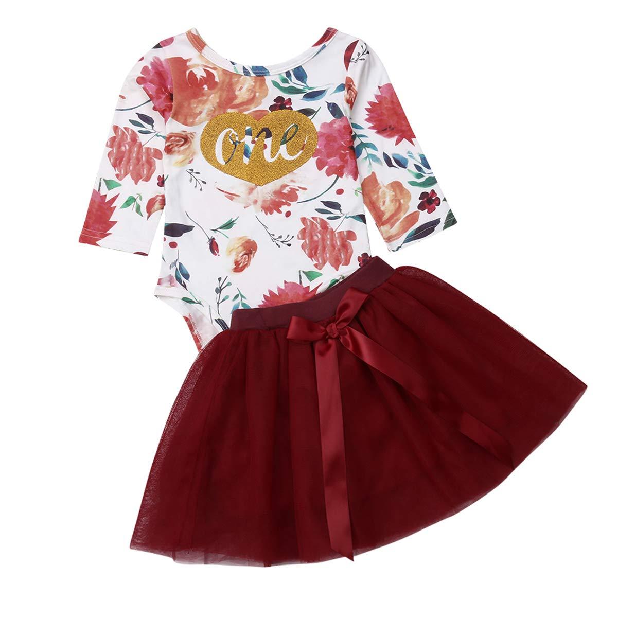 2Pcs Little Baby Girls Floral Print Romper Sheer Mesh Red Skirt Dress Set