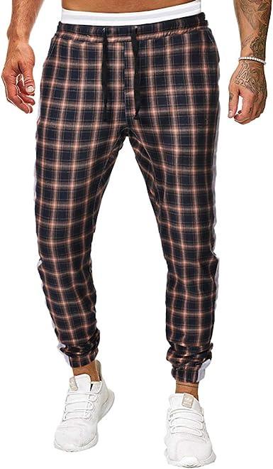 HONGBI Pantalones de Cinturón Algodón Elástico de Hombres ...