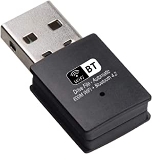USB WiFi Bluetooth Adapter for PC 600Mbps,Wireless WiFi Adapter 600 Mbps & Wireless Bluetooth 2-in-1 Dongle, Support Windows XP/ 7/8/10/ Vista, Mac OS, Linux for PC Desktop Laptop
