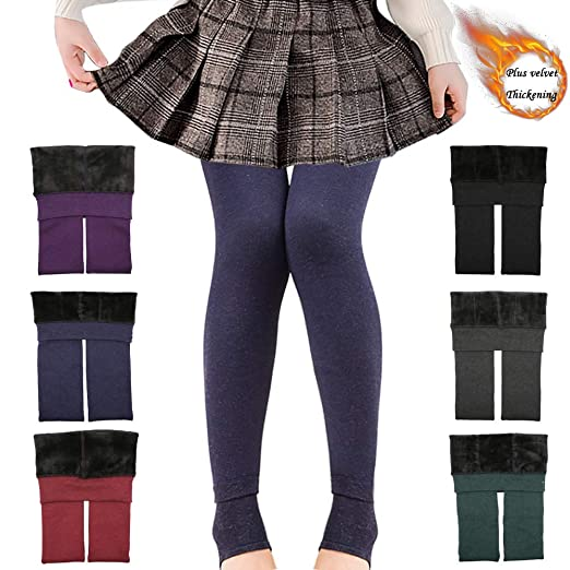 dd7a888c82401 Girls Winter Warm Fleece Lined Elastic Waist Thick Leggings Velvet Stretchy  Pants Tights (Navy Blue
