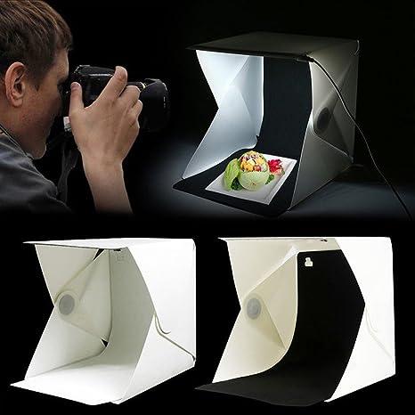 Carpa Fotográfica con Iluminación, Tienda Ligera 23x23x24cm, Mini Caja de luz DIY Kit Producto Plegable Estudio Dimmable: Amazon.es: Electrónica