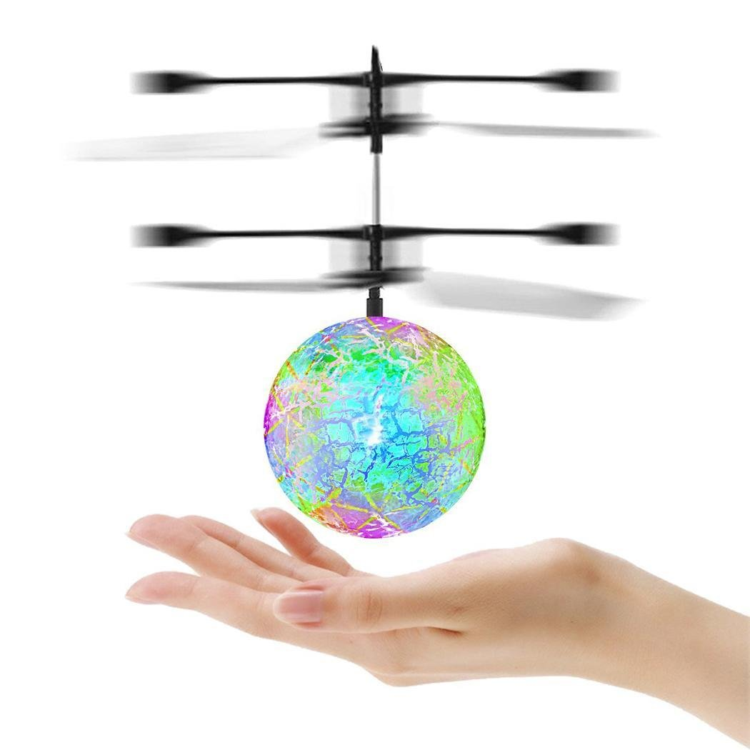 Hindom RC Flying Ball, Mini RC infrared Induction Drone Hand Suspension Helicopter Flying Balls Built-in Shinning Color Changing LED Lighting Xmas Gift for Kids