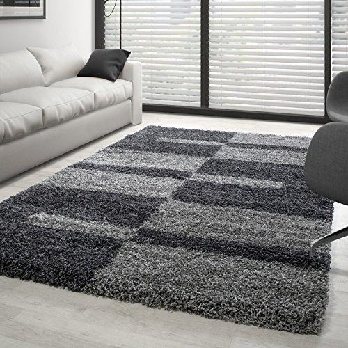 Teppich Hochflor Langflor Wohnzimmer Gala Shaggy Florhöhe 3cm Mehrfarbig - Grau-Hellgrau, 240x340 cm