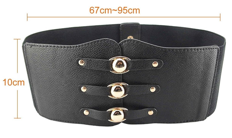 Aivtalk Womens Rivet Interlock Buckle Elastic Waist Belt Cinch, Black