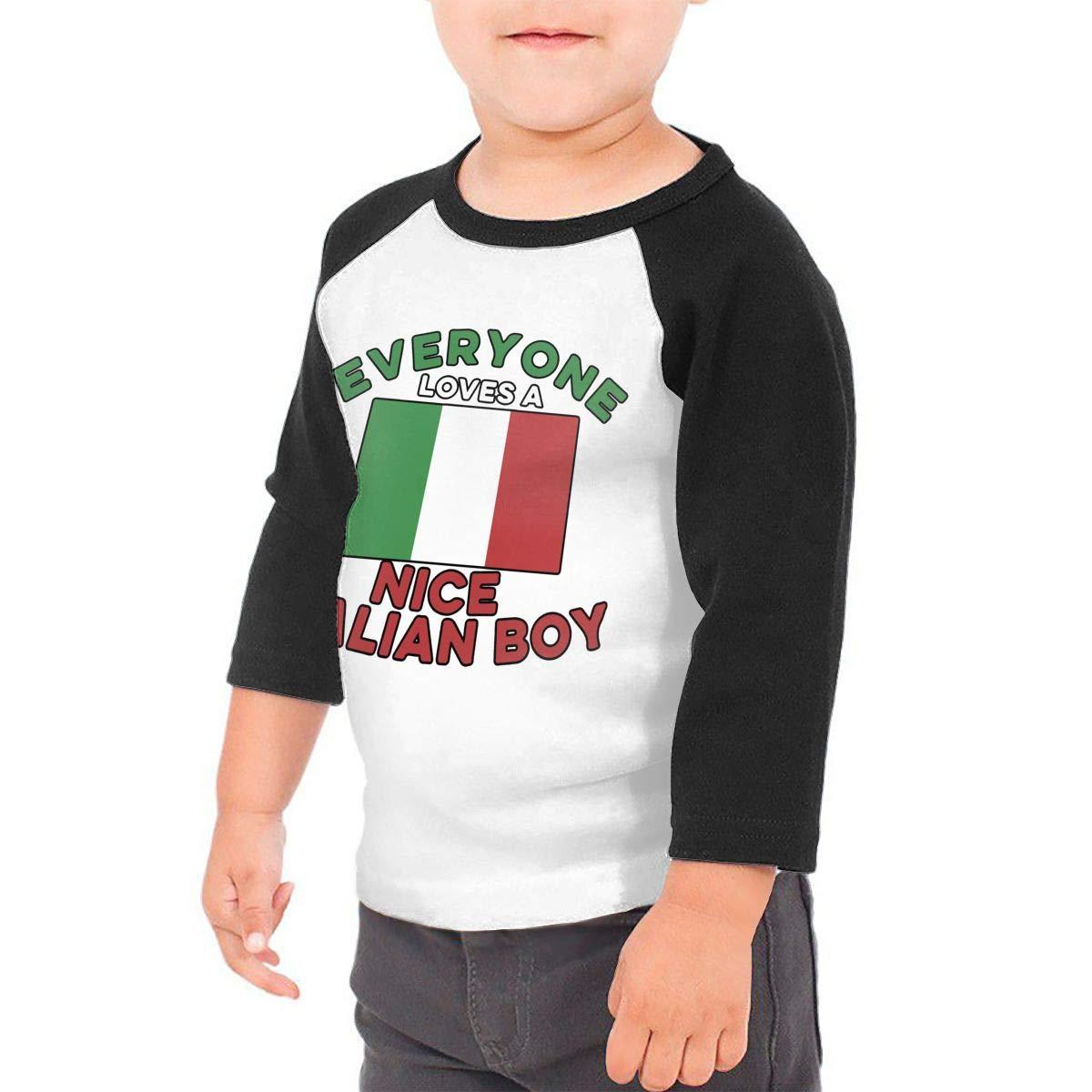 Boys Girls Kids /& Toddler Everyone Loves A Nice Italian Boy Flag-1 Long Sleeve T-Shirt 100/% Cotton