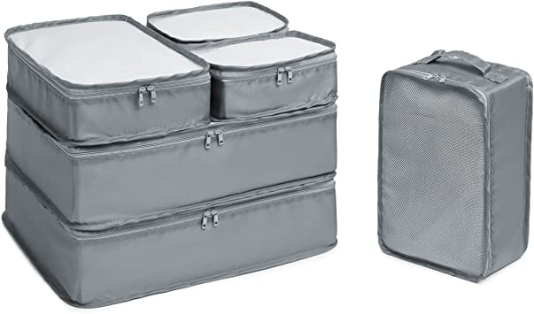Abshoo 6 Set Travel Packing Cubes Luggage Organizers with Shoe Bag (Grey)