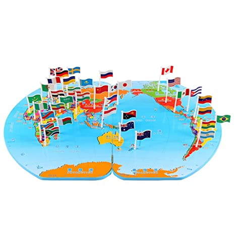 Amazon yaosen wooden world map flag matching puzzle toy yaosen wooden world map flag matching puzzle toy geography educational toy gumiabroncs Image collections