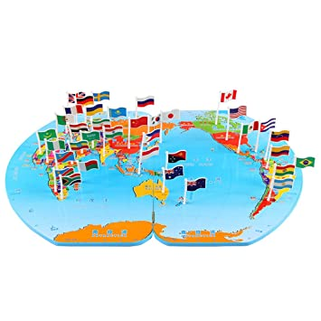 Amazon yaosen wooden world map flag matching puzzle toy yaosen wooden world map flag matching puzzle toy geography educational toy gumiabroncs Images