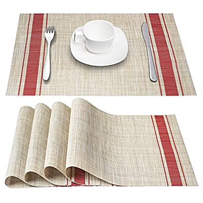 "DACHUI Placemats, Heat-Resistant Placemats Stain Resistant Anti-Skid Washable PVC Table Mats Woven Vinyl Placemats, Set of 4 (Red) - Size in:18""X12""(45cmX30cm),Set of 4. Composition: 70% PVC, 30% polyester Ultra-durable, uv protected to resist fading, designed to last for years with daily use. Washable,non-fading,non-stain,Not mildew,Wipe Clean,wearproof,dries very quickly. - placemats, kitchen-dining-room-table-linens, kitchen-dining-room - 61gP9ojZ3jL. SS400  -"
