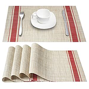 Placemats dachui heat resistant placemats stain resistant anti skid washable pvc - Heat resistant table cloth ...