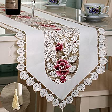 1678 Inch FashionMall Classic Rural style Table Runners Hollow Out Embroidered Tassel Floral Lace