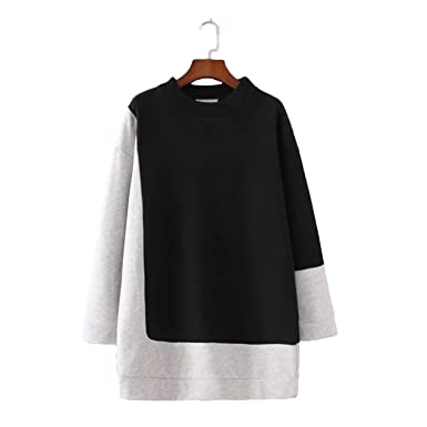 FDFAF Sexy Women contrast color oversized long sweatshirts long sleeve o neck loose pullover female casual