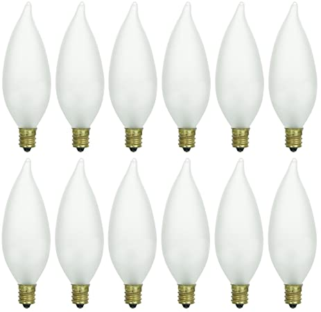 Pack of 12 40 Watt CFF Candelabra Base Frosted Flame Tip Shaped ...