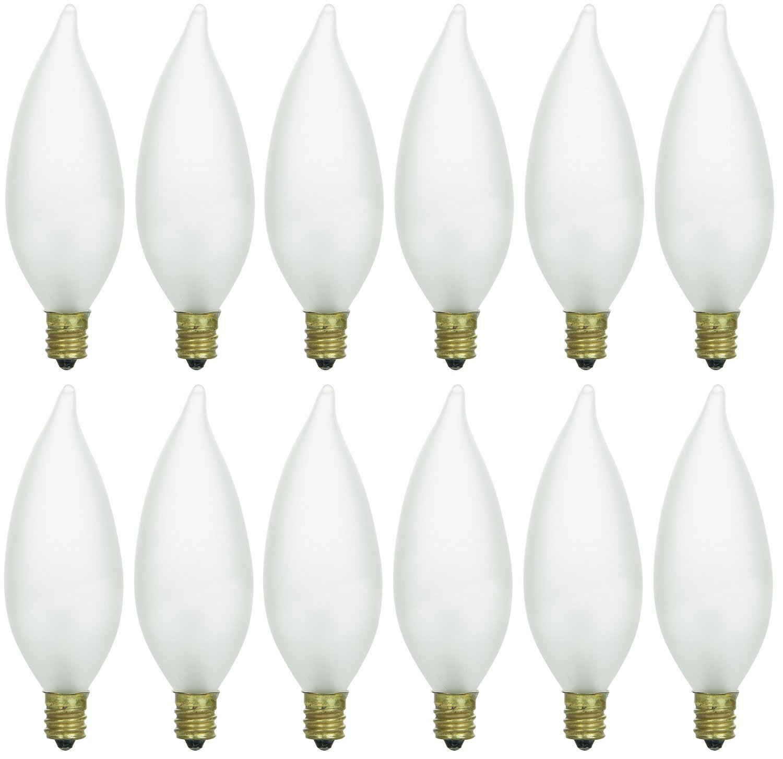 Pack of 12 40 Watt CFF Candelabra Base Frosted Flame Tip Shaped Incandescent Chandelier Light Bulb