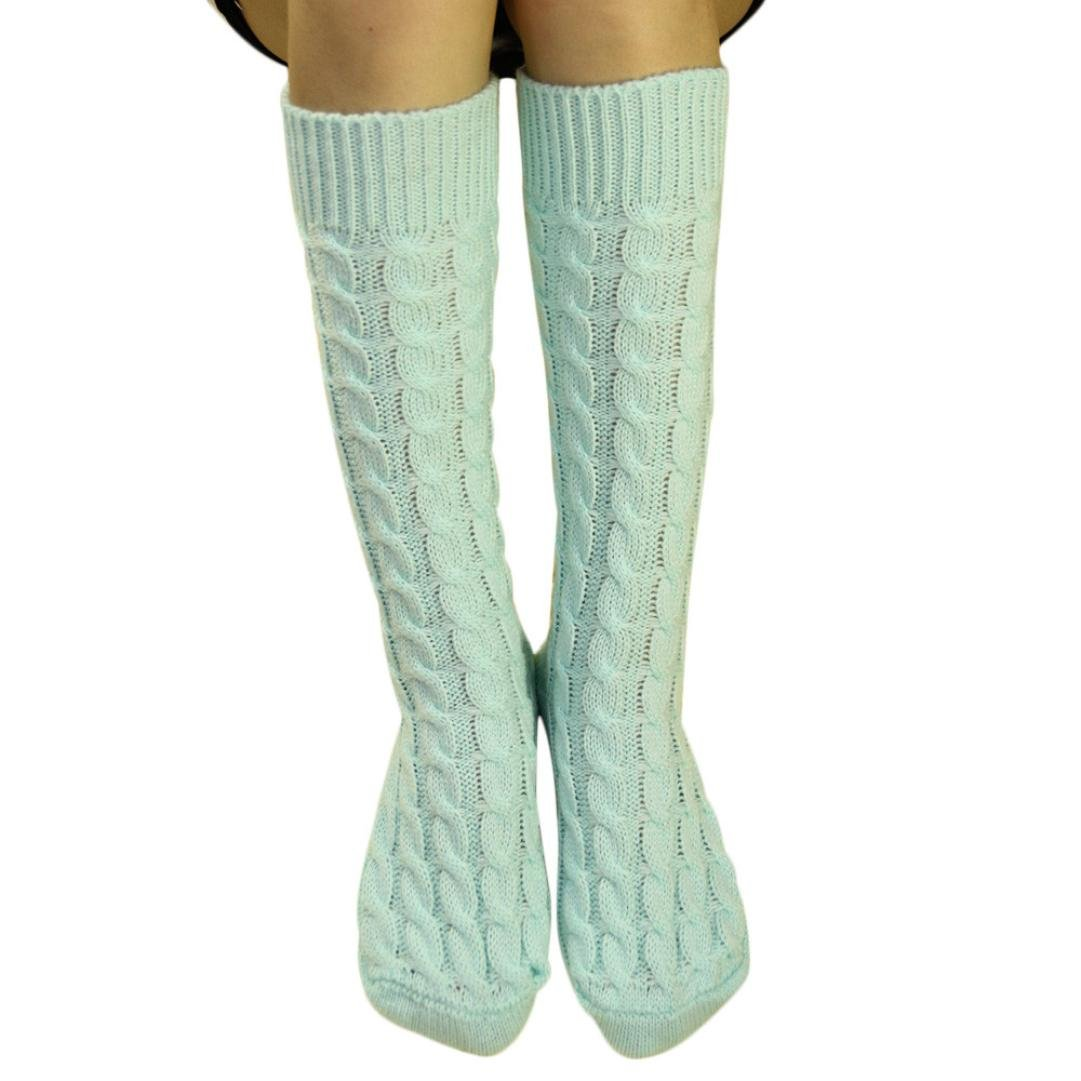 ホットセールレディースKnee Boot Socks、jushyeレディースニットロングブーツソックス膝上ストッキングニットHangingボールソックス B077Z1NXZB E E